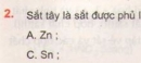 Bài 2 – Trang 163 – SGK Hóa học 12