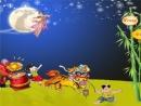 Đêm Trung thu trăng sáng, các em thiếu nhi vui đùa, ca hát, rước đèn dưới ánh trăng rằm