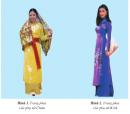 Quan sát hình 1 và 2, nhận xét trang phục của phụ nữ Chăm, phụ nữ Kinh.
