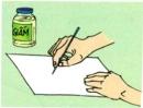 Thực hiện: Nhúng đầu tăm vào giấm rồi viết lên giấy và để khô