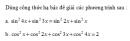 Câu 35 trang 42 SGK Đại số và Giải tích 11 Nâng cao