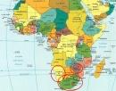 Hãy xác định trên bản đồ châu Phi vị trí ba nước Dim-ba-bu-ê, Na-mi-bi-a và Cộng hòa Nam Phi.