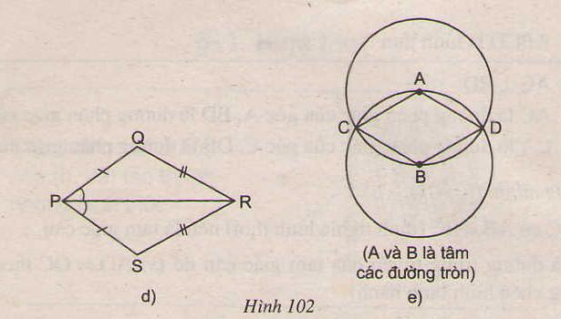 Hình 102 d, e bài 73 trang 105 SGK Toán lớp 8 Tập 1