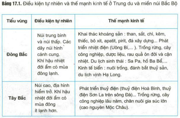 Căn Cứ Vao Bảng 17 1 Hay Neu Sự Khac Biệt Về điều Kiện Tự Nhien Va Thế Mạnh Kinh Tế Giữa Hai Tiểu Vung đong Bắc Va Tay Bắc địa Li