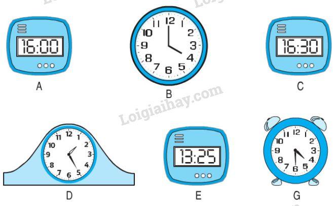 4. Vào buổi chiều, hai đồng hồ nào chỉ cùng thời gian ?