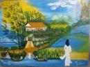 Khung cảnh thôn Vĩ Dạ được thể hiện qua bài thơ  Đây thôn Vĩ Dạ của Hàn Mạc Tử.