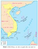 Quan sát hình 1 : Cho biết Biển Đông bao bọc các phía nào của phần đất liền nước ta ?