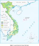 Quan sát hình 1, hãy chỉ vùng phân bố của rừng rậm nhiệt đới và rừng ngập mặn
