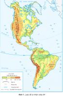 Quan sát hình 1, cho biết châu Mĩ giáp với những đại dương nào.