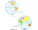 Dựa vào hình 1 và hình 2, hãy cho biết: Đại Tây Dương giáp các châu lục và đại dương nào?