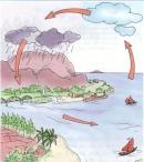 Chỉ vào sơ đồ và nói về sự bay hơi, ngưng tụ của nước trong tự nhiên