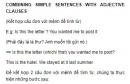 COMBINING SIMPLE SENTENCES WITH ADJECTIVE CLAUSES  (Kết hợp câu đơn với mệnh đề tính từ) Unit 8 SGK Tiếng Anh 9