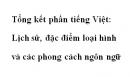 Soạn bài Tổng kết phần Tiếng Việt lịch sử, đặc điểm loại hình và các phong cách ngôn ngữ