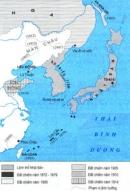 Dựa vào lược đồ, trình bày sự mở rộng thộc địa của đế quốc Nhật?