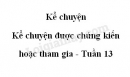 Kể chuyện: kể chuyện được chứng kiến hoặc tham gia trang 126 SGK Tiếng Việt 5 tập 1