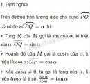 Lý thuyết giá trị lượng giác của một cung