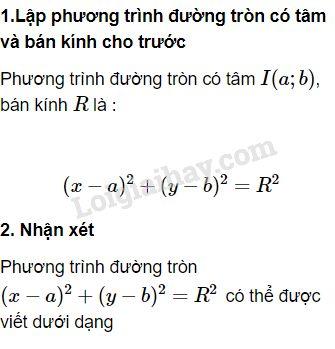 Lý thuyết phương trình đường tròn