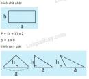 Lý thuyết về tính chu vi, diện tích một số hình