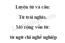 Luyện từ và câu: Từ trái nghĩa. Mở rộng vốn từ: từ ngữ chỉ nghề nghiệp trang 137 SGK Tiếng Việt 2 tập 2