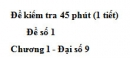 Đề kiểm tra 45 phút (1 tiết) - Đề số 1 - Chương 1 - Đại số 9