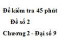 Đề kiểm tra 45 phút (1 tiết) - Đề số 2 - Chương 2 - Đại số 9