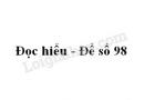 Đọc hiểu - Đề số 98 - THPT