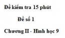 Đề kiểm tra 15 phút - Đề số 1 - Bài 3 - Chương 2 - Hình học 9