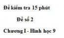 Đề kiểm tra 15 phút - Đề số 2 - Bài 1 - Chương 1 - Hình học 9