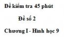 Đề kiểm tra 45 phút - Đề số 7 - Chương 1 - Hình học 9