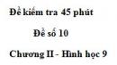 Đề kiểm tra 45 phút (1 tiết) - Đề số 10 - Chương 2 - Hình học 9