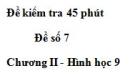 Đề kiểm tra 45 phút (1 tiết) - Đề số 7 - Chương 2 - Hình học 9