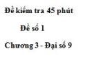 Đề kiểm tra 45 phút (1 tiết) - Đề số 1 - Chương 3 - Đại số 9