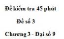 Đề kiểm tra 45 phút (1 tiết) - Đề số 3 - Chương 3 - Đại số 9