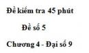 Đề kiểm tra 45 phút (1 tiết) - Đề số 5 - Chương 4 - Đại số 9