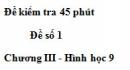 Đề kiểm 45 phút (1 tiết) - Đề số 1 - Chương 3 - Hình học 9
