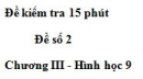 Đề kiểm tra 15 phút - Đề số 2 - Bài 2 - Chương 3 - Hình học 9