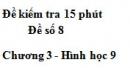 Đề kiểm tra 15 phút - Đề số 8 - Bài 4 - Chương 3 - Hình học 9