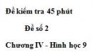 Đề kiểm tra 45 phút (1 tiết) - Đề số 2 - Chương 4 - Hình học 9
