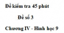 Đề kiểm tra 45 phút (1 tiết) - Đề số 3 - Chương 4 - Hình học 9