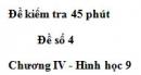 Đề kiểm tra 45 phút (1 tiết) - Đề số 4 - Chương 4 - Hình học 9
