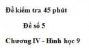 Đề kiểm tra 45 phút (1 tiết) - Đề số 5 - Chương 4 - Hình học 9