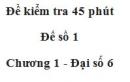 Đề kiểm tra 45 phút (1 tiết) - Đề số 1 - Chương 1 - Đại số 6
