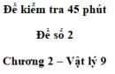 Đề kiểm tra 45 phút (1 tiết) - Đề số 2 - Chương 2 - Vật lí 9