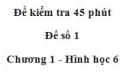 Đề kiểm tra 45 phút (1 tiết) - Đề số 1 - Chương 1 - Hình học 6