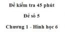 Đề kiểm tra 45 phút (1 tiết) - Đề số 5 - Chương 1 - Hình học 6