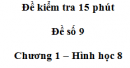 Đề kiểm tra 15 phút - Đề số 9 - Bài 9, 10 - Chương 1 - Hình học 8