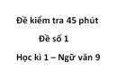 Đề số 1 - Đề kiểm tra 45 phút (1 tiết) - Học kì 1 - Ngữ văn 9