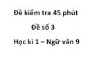 Đề số 3 - Đề kiểm tra 45 phút (1 tiết) - Học kì 1 - Ngữ văn 9