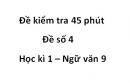 Đề số 4 - Đề kiểm tra 45 phút (1 tiết) - Học kì 1 - Ngữ văn 9
