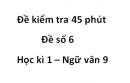 Đề số 6 - Đề kiểm tra 45 phút (1 tiết) - Học kì 1 - Ngữ văn 9